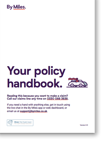 The cover of the By Miles policy handbook