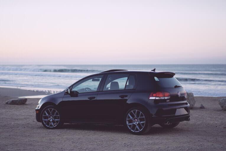 Car parked on beach