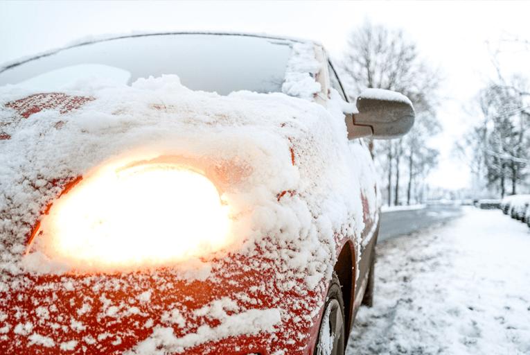 Snowy car headlight