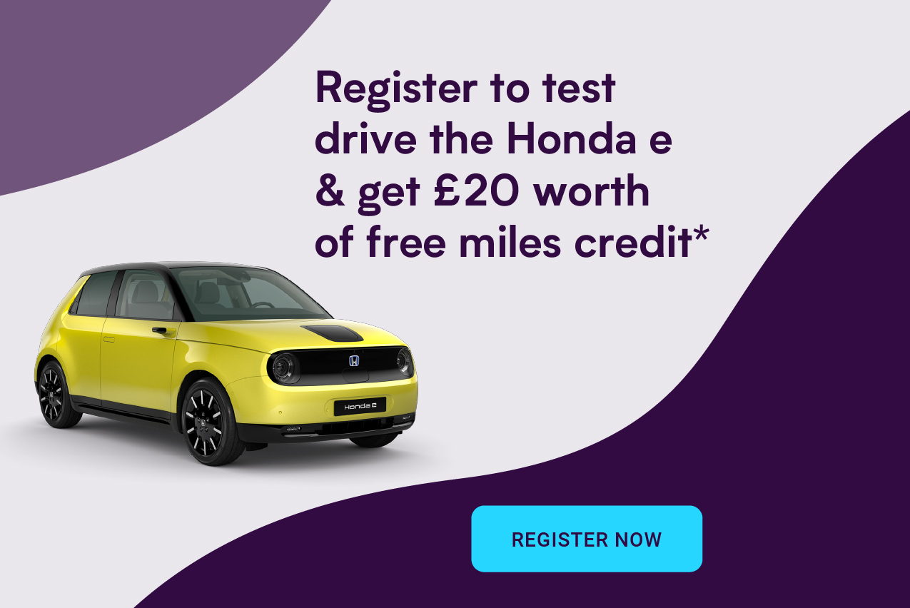 Register to test drive the Honda e